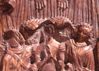 Remete Szent Pál síremlékének vörös márvány fedlapjának maradványa