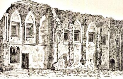 Ádám Iván rajza a tüskevári pálos kolostor romjairól (A kép a veszprémi Laczkó Dezső Múzeum Műemléki adattárában található)