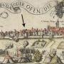 Johann Sibmacher 1598-as metszetének részlete a Kammerhof ábrázolásával (Bencze Zoltán: A budavári Táncsics Mihály utca 7-9. rövid története )