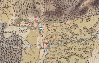 Szentjobb és környéke az első katonai felmérés térképén 1773-1781 (mapire.eu)