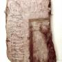 A Pulán előkerült vörösmárvány sírkő egy darabja (Forrás:Rainer Pál (szerk.): Veszprém megye egyházi élete a középkorban)
