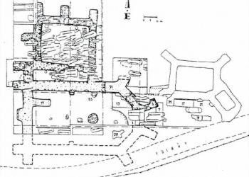 Az ispotály 15. század közepi részleges pusztulását követő pálos építkezések maradványai (Forrás: Pusztai Tamás: Előzetes jelentés a telkibányai Szent Katalin ispotály 1997-98. évi feltárásáról)