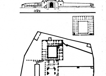 A kolostor felmérési rajza és homlokzati metszetei 1786-ból (Forrás: Ribáry Zoltán-Joó Tibor: A tokaji páloskolostor nyomában.)