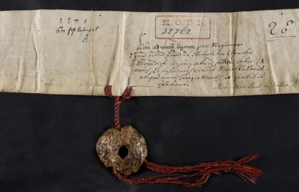1375. 04. 24-én Ugrin mester által kiadott adománylevél a bakvai pálosoknak (Forrás: davt.hr)