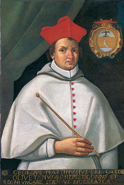 Fráter György (Martinuzzi György) bíboros (1482–1551), esztergomi érsek, erdélyi kancellár, politikus portréja. Ismeretlen festő alkotása (18. század). Forrás: wikipedia.org)