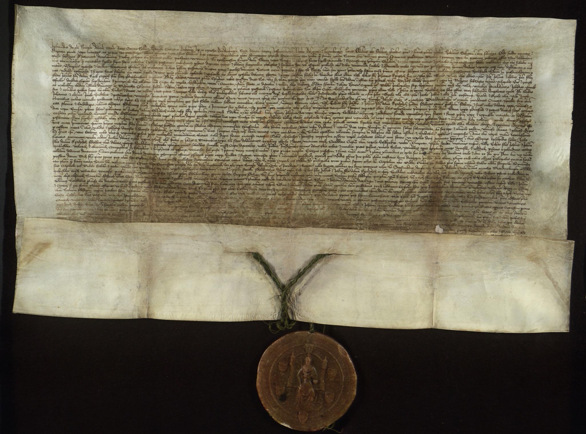 Egy Zsigmond király által kiállított oklevél (Forrás: edit.elte.hu)