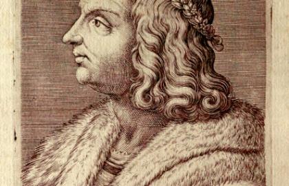 Hunyadi Mátyás mellképe (Capriolo, Aliprando: Ritratti di cento capitani illustri…con li lor fatti in guerra. – In Roma, 1596. (In fine:) Per Domenico Gigliotti) Forrás: matyasmesek.oszk.hu