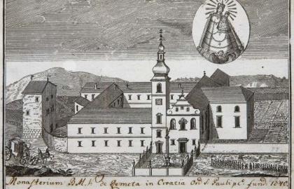 A remetei pálos kolostor egy 17. századi metszeten (Forrás: Muzej Grada Zagreba)