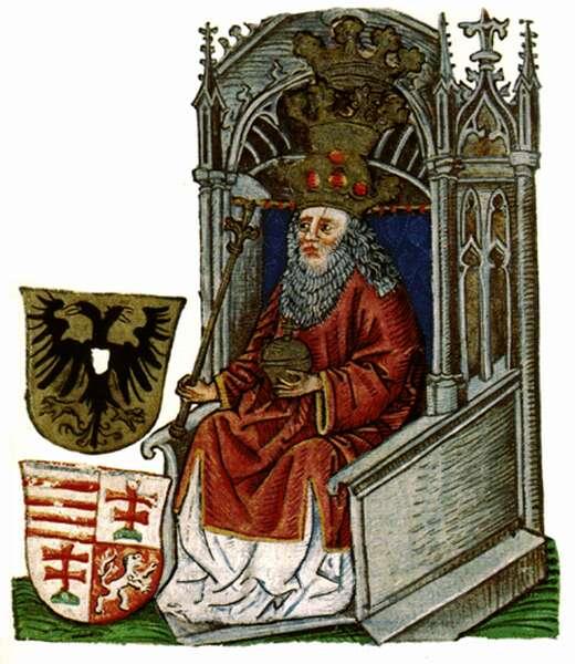 Zsigmond király ábrázolása A magyarok krónikájában (Forrás: mek.oszk.hu)