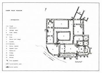 Az almári pálos kolostor alaprajza (Forrás: Fodor László: Rövid összefoglalás az almárvölgyi pálos kolostor feltárásáról)
