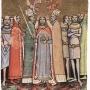 Szent László koronázása (Iniciálé a Képes Krónikából. Forrás: Szent László-év)