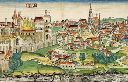 Buda, Hartmann Schedel krónikája szerint (Nuremberg chronicles – BVJA, wikipedia.org)