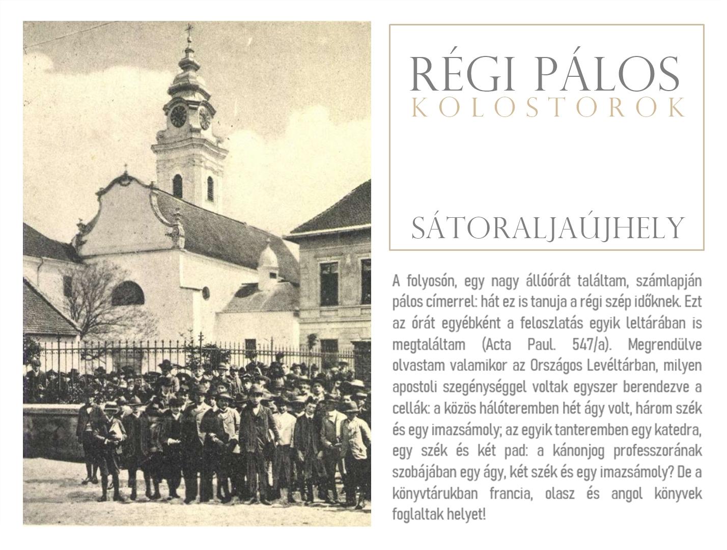 Régi pálos kolostorok – Sátoraljaújhely